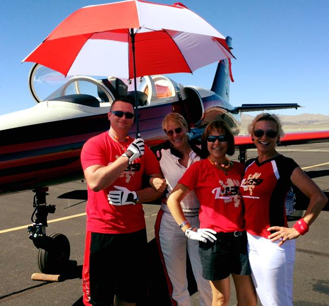 Vladimir Silchuk, crew; Vicky Benzing, pilot; Kathy Minh, crew and Dianna Stanger, owner. (left to right)